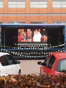led video wall en geluid tijdens corona proof sinterklaas feest in deventer